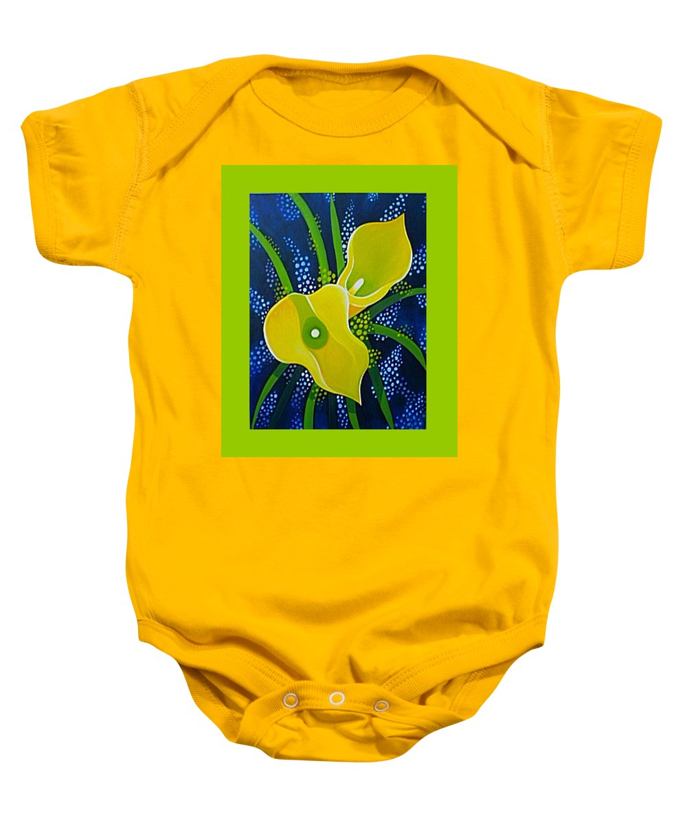 Lily Baby Onesie featuring the painting Yellow Callas by Helena Tiainen