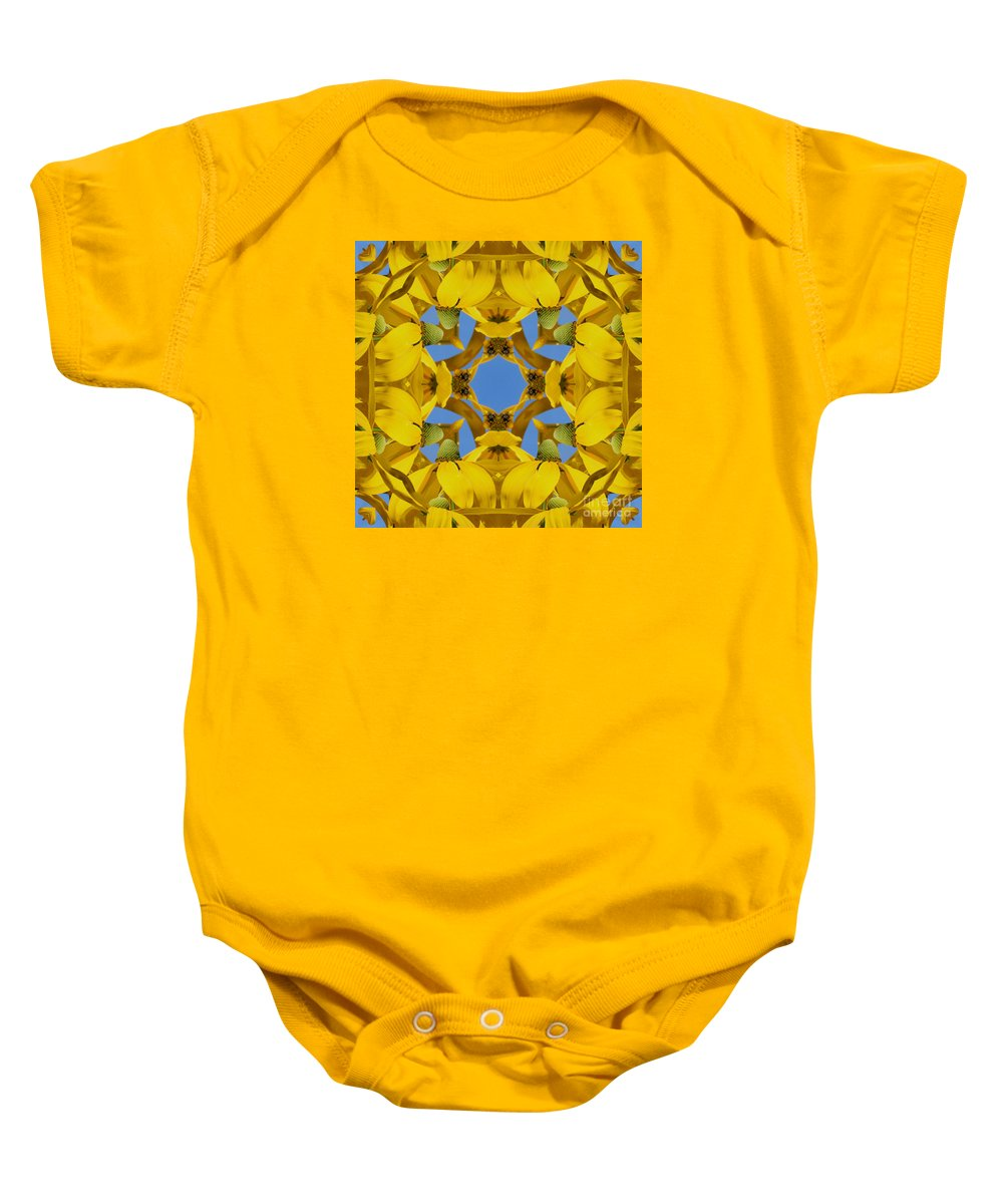 Kaleidoscope Baby Onesie featuring the photograph Yellow Coneflower Kaleidoscope by Smilin Eyes Treasures