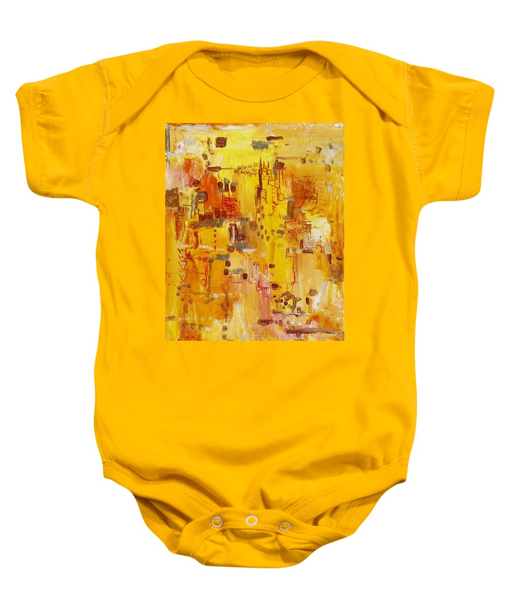 Landscape Baby Onesie featuring the painting Yellow Conundrum by Regina Valluzzi