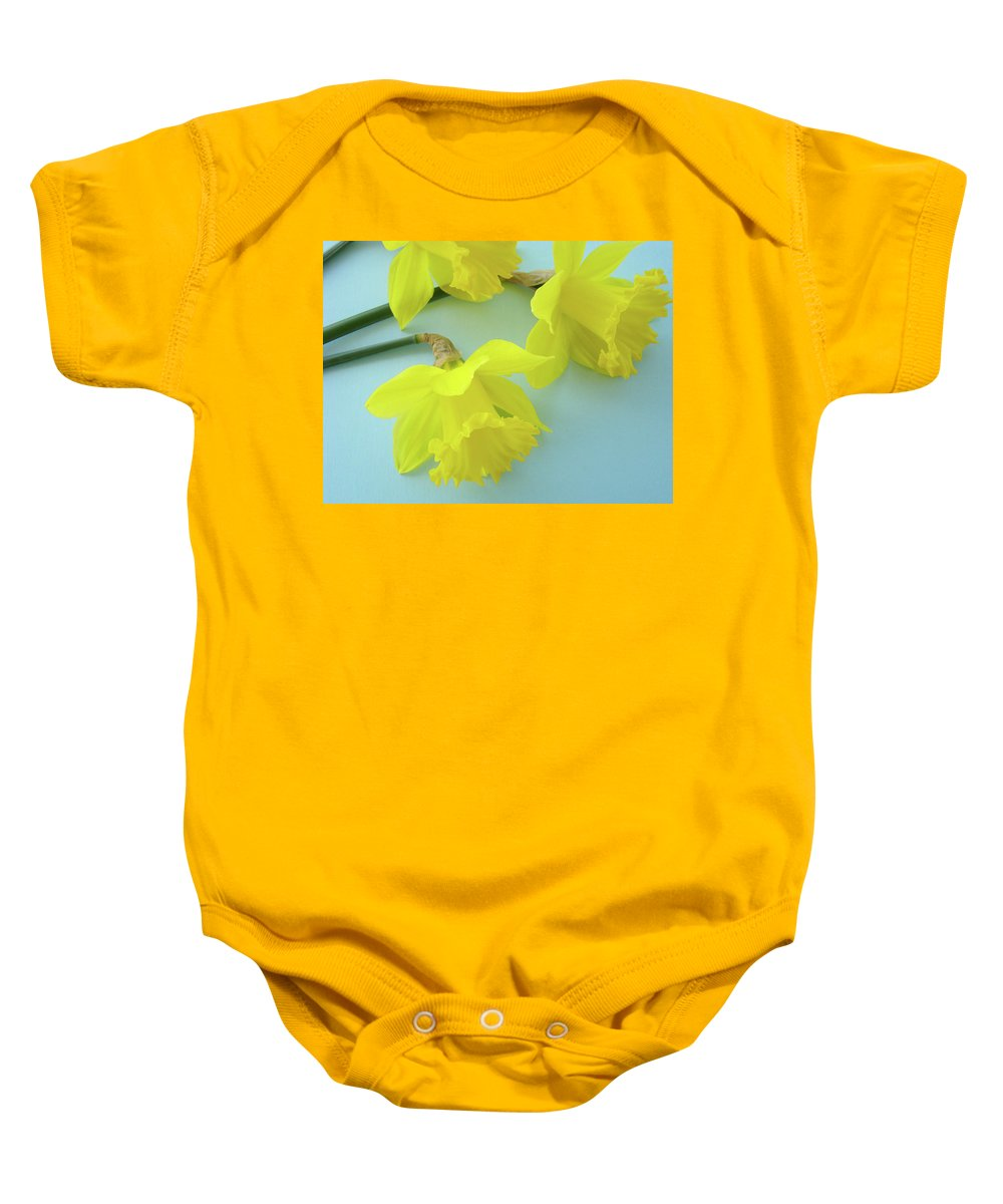 �daffodils Artwork� Baby Onesie featuring the photograph Yellow Daffodils Artwork Spring Flowers Art Prints Nature Floral Art by Baslee Troutman