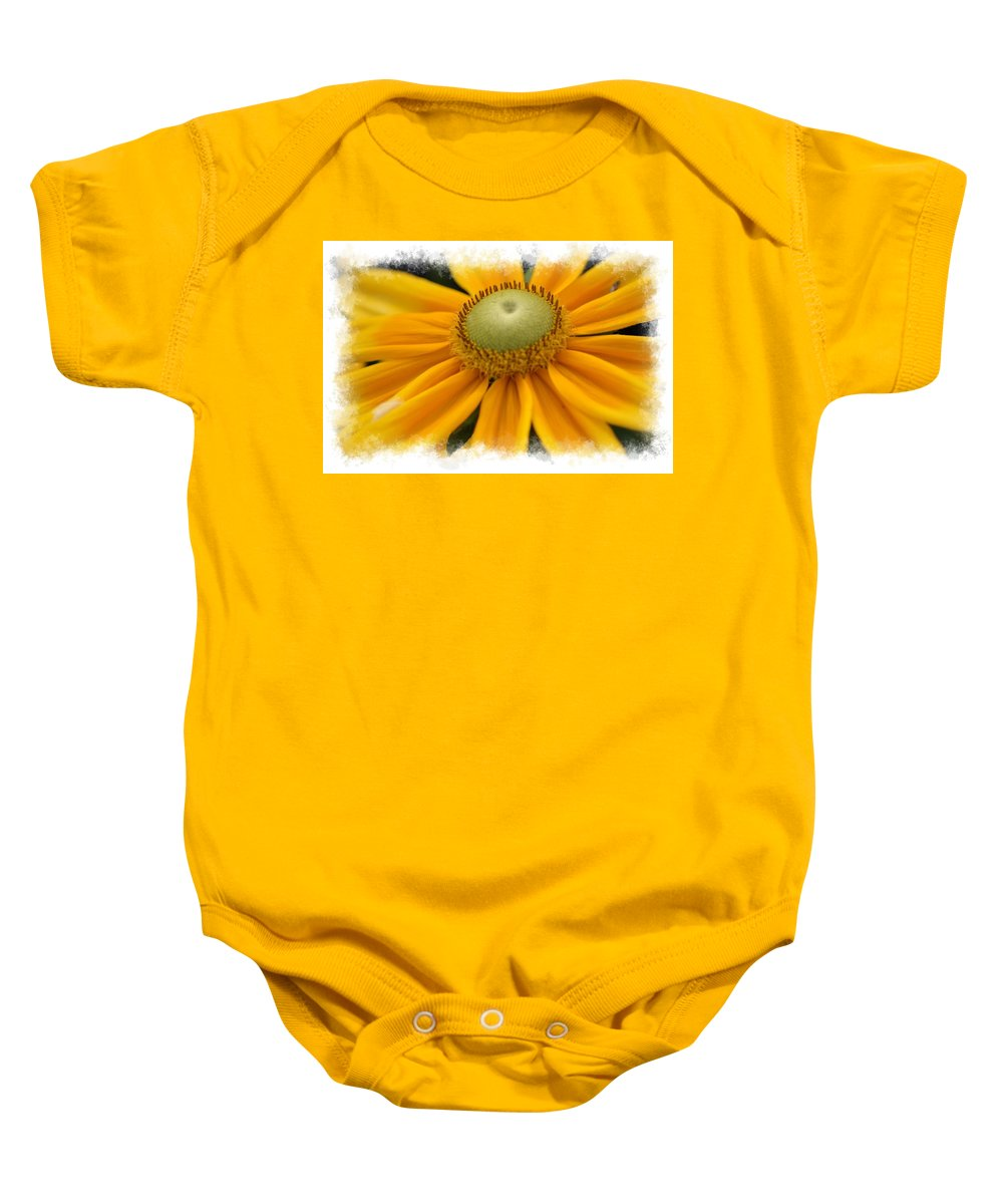 Yellow Baby Onesie featuring the photograph Yellow Flower by Donna Bentley
