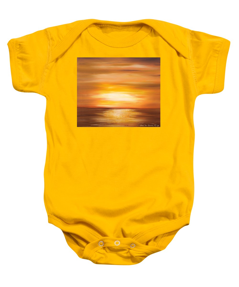 Yellow Gold Colors Sunsets Oil Painting Originals Gina De Gorna Art Works Baby Onesie featuring the painting Yellow Gold Sunset by Gina De Gorna