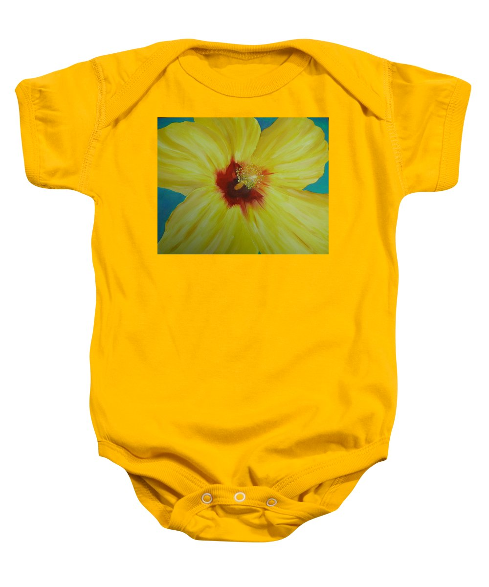 Flower Baby Onesie featuring the print Yellow Hibiscus by Melinda Etzold