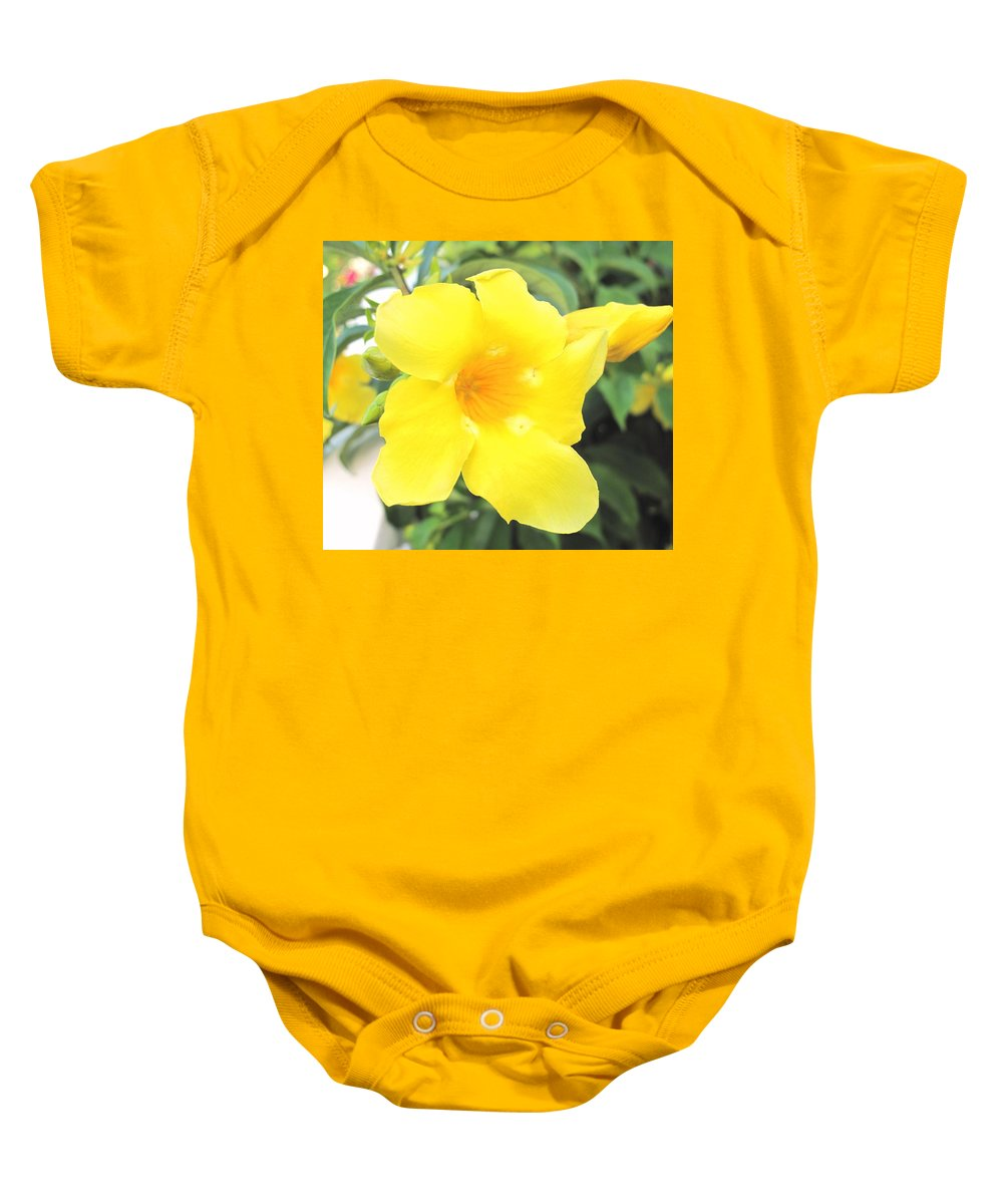 Yellow Baby Onesie featuring the photograph Yellow Hibiscus St Kitts by Ian MacDonald
