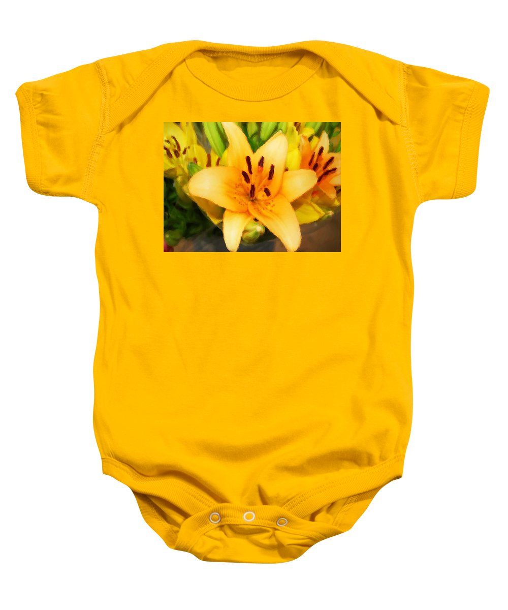 Sunflowers Baby Onesie featuring the painting Yellow Lily by Michael Thomas