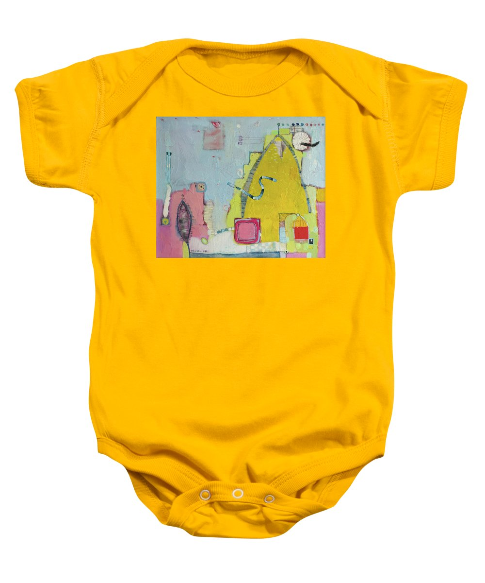 Blue Baby Onesie featuring the painting Yellow Mountain by Todor Paskalev
