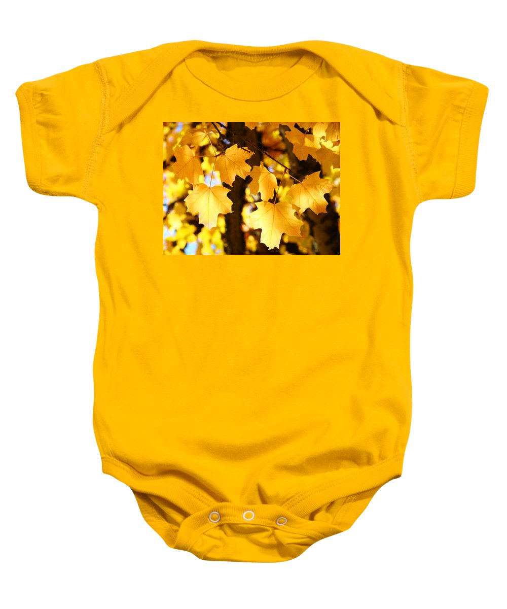 Yellow Baby Onesie featuring the photograph Yellow Nature Tree Leaves Art Prints Bright Baslee Troutman by Baslee Troutman