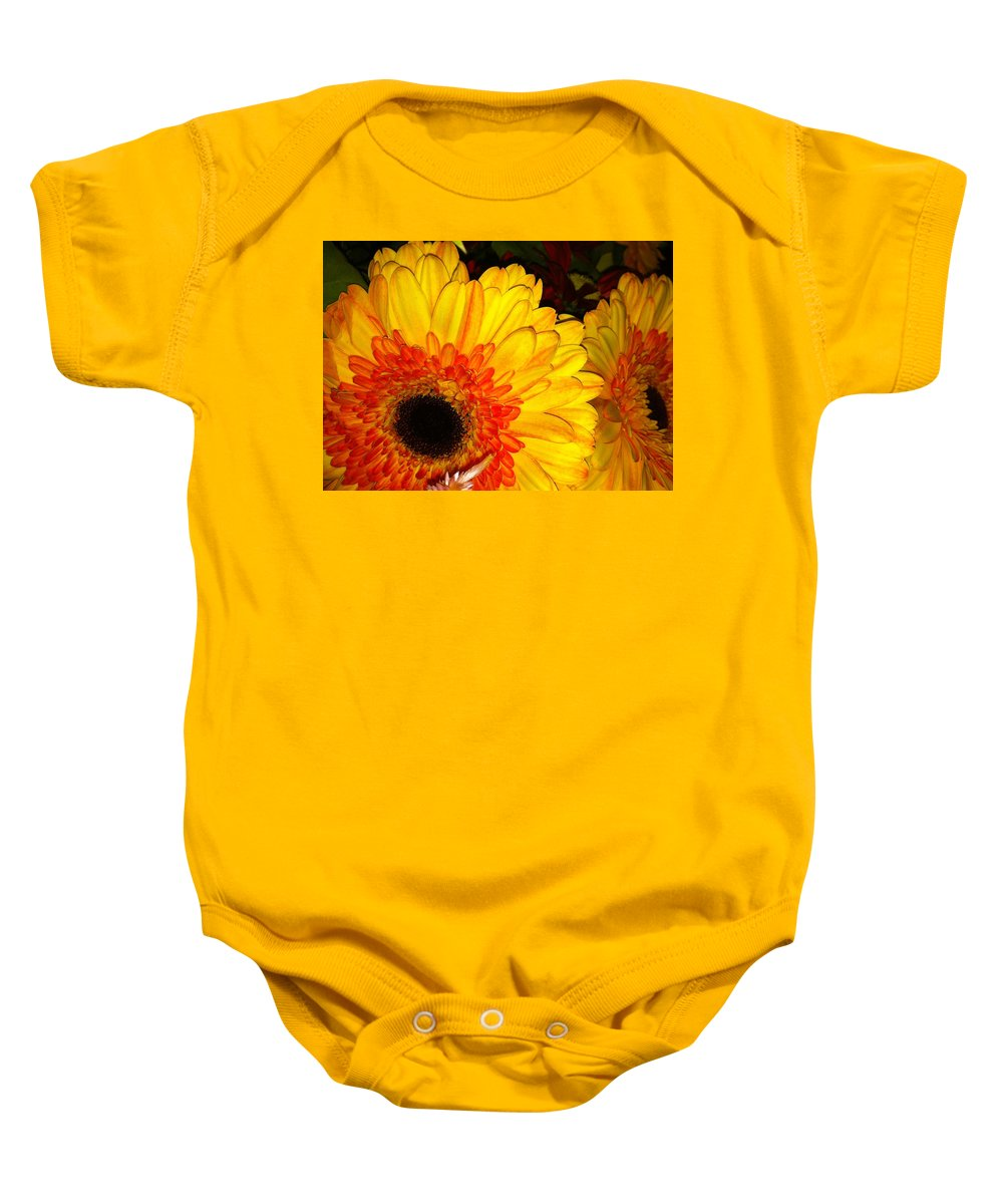 Flowers Baby Onesie featuring the photograph Yellow-orange by Kimberly Mohlenhoff