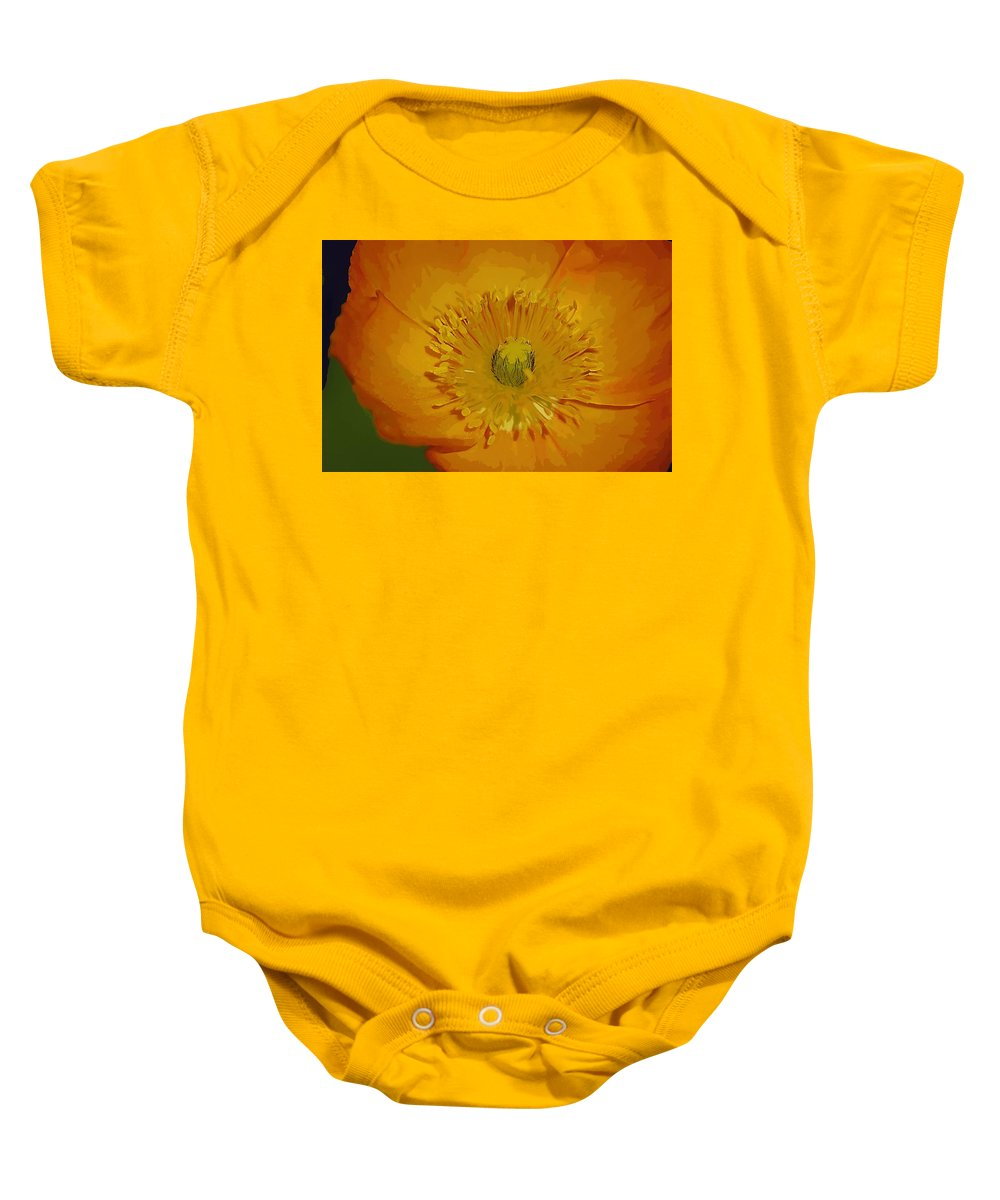 Poppy Baby Onesie featuring the photograph Yellow Poppy by Donna Bentley