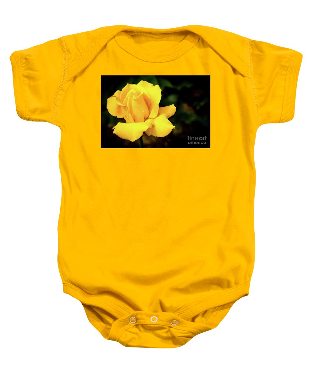 Rose Baby Onesie featuring the photograph Yellow Rose - After The Rain by Douglas Milligan