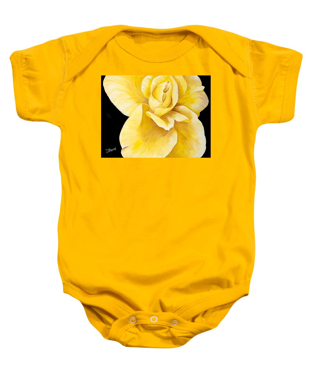 Yellow Paintings Baby Onesie featuring the painting Yellow Rose by Debi Bond