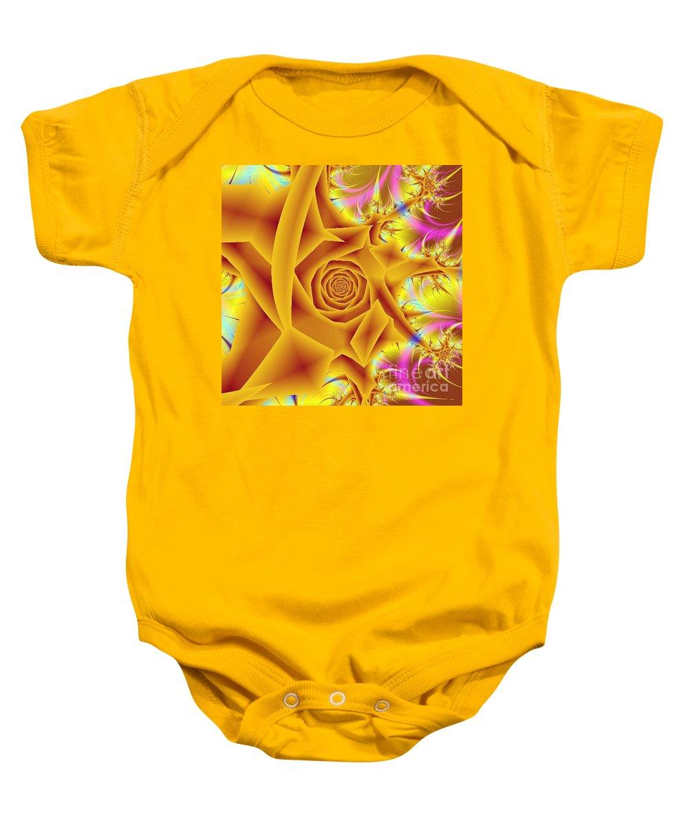 Digital Art Baby Onesie featuring the digital art Yellow Rose by Dragica Micki Fortuna