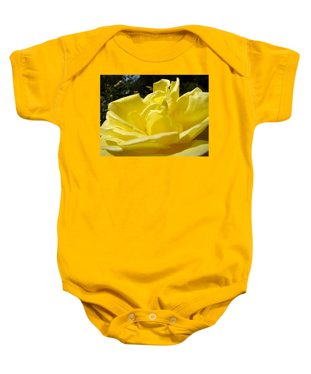 Rose Baby Onesie featuring the photograph Yellow Rose Sunny Art Prints Roses Flowers Baslee Troutman by Baslee Troutman