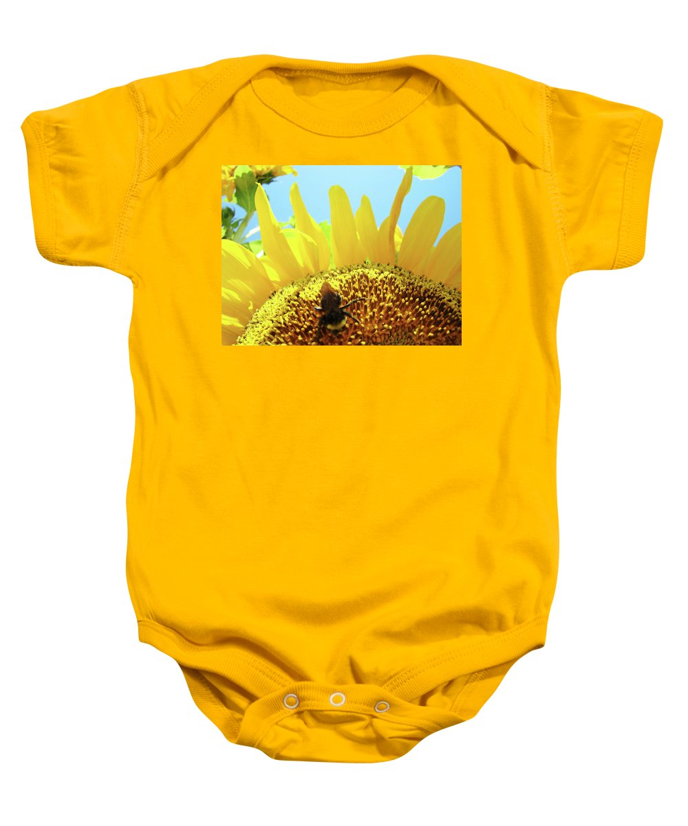 Sunflower Baby Onesie featuring the photograph Yellow Sunflower Art Prints Bumble Bee Baslee Troutman by Baslee Troutman