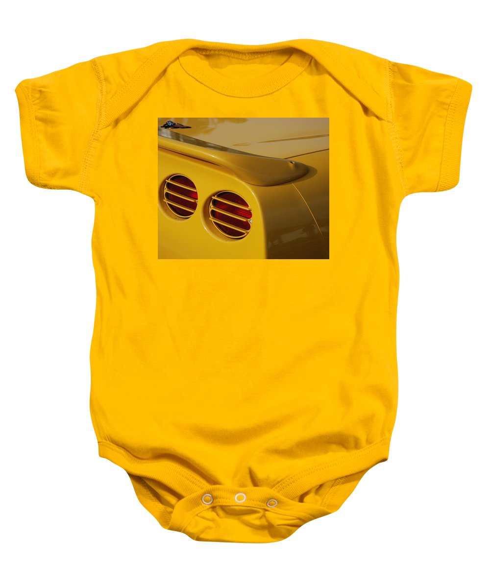 Corvette Baby Onesie featuring the photograph Yellow Vette Lights by Rob Hans