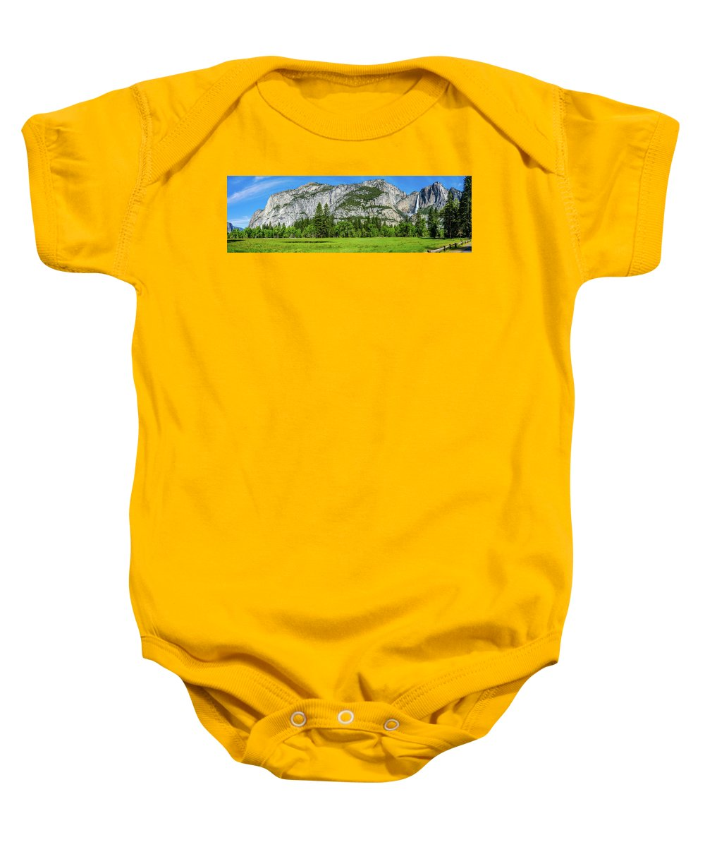 California Baby Onesie featuring the photograph Yosemite West Valley Meadow Panorama #2 by Randy Herring