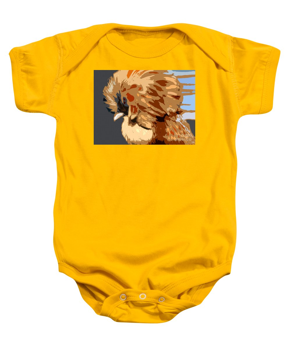Art Baby Onesie featuring the painting You Chicken Two by David Lee Thompson