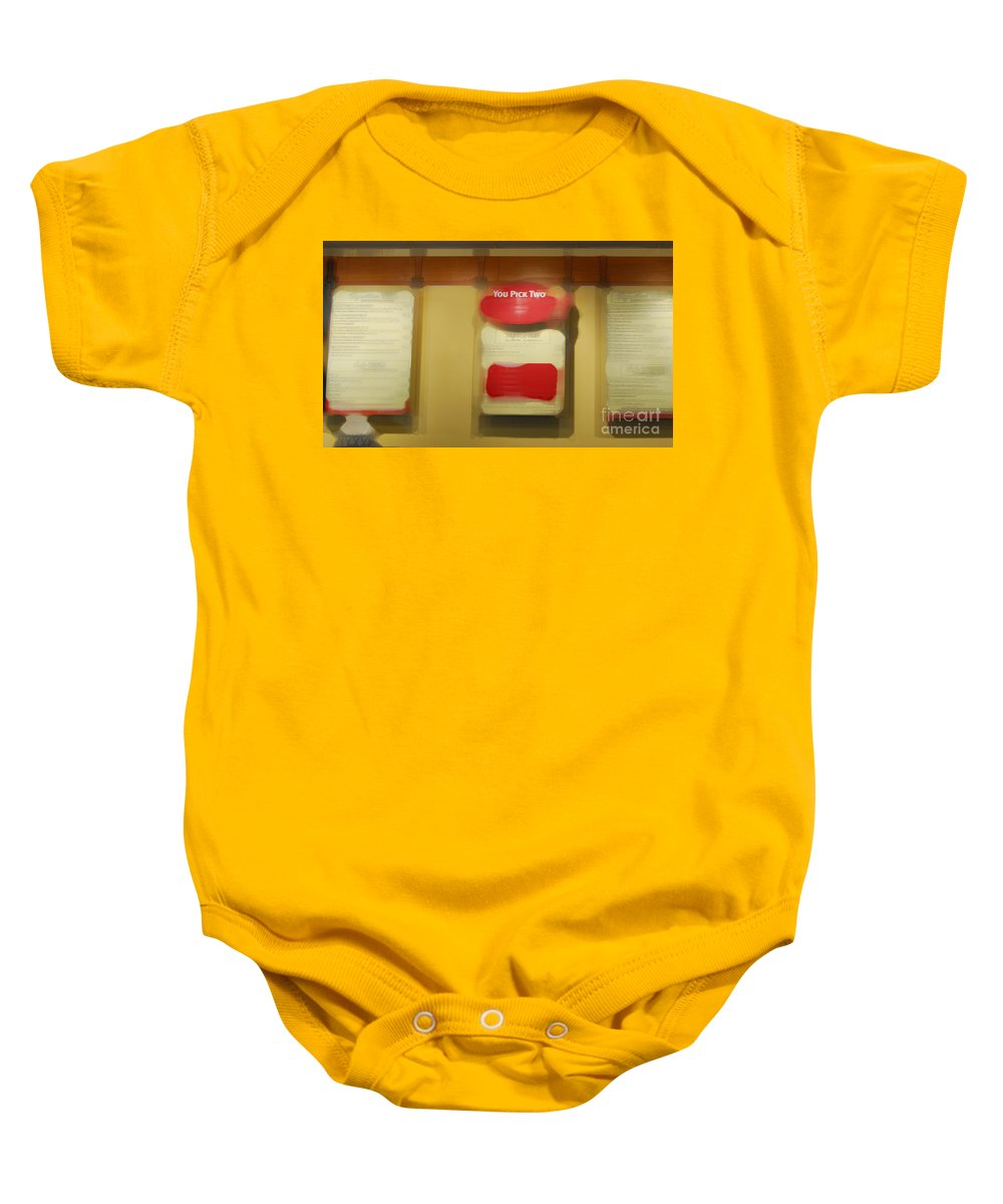 Restaurant Baby Onesie featuring the photograph You Pick Two by Paulette B Wright