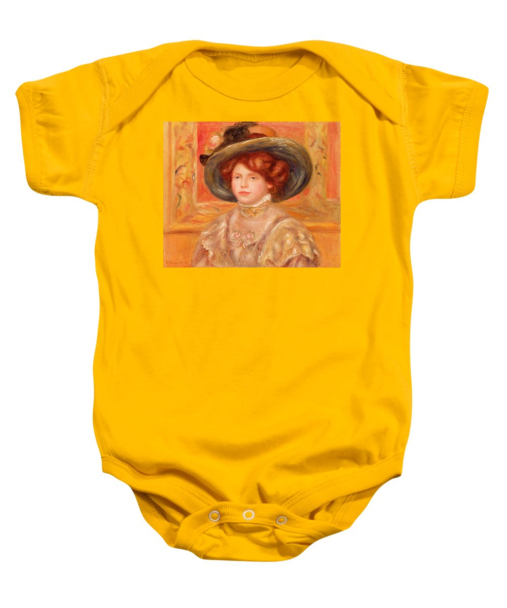 Young Baby Onesie featuring the painting Young Woman In A Blue Hat by Pierre Auguste Renoir