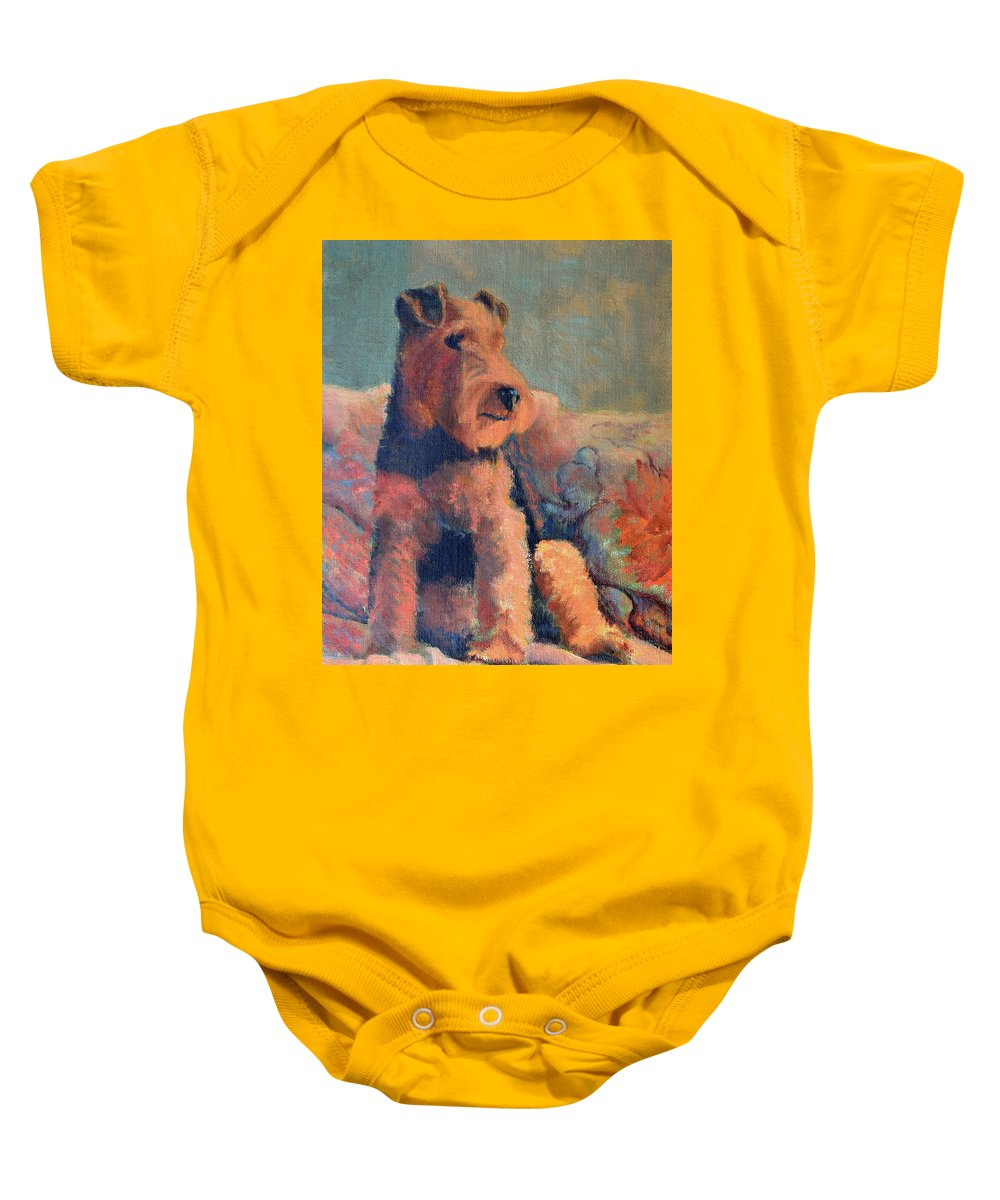 Pet Baby Onesie featuring the painting Zuzu by Keith Burgess