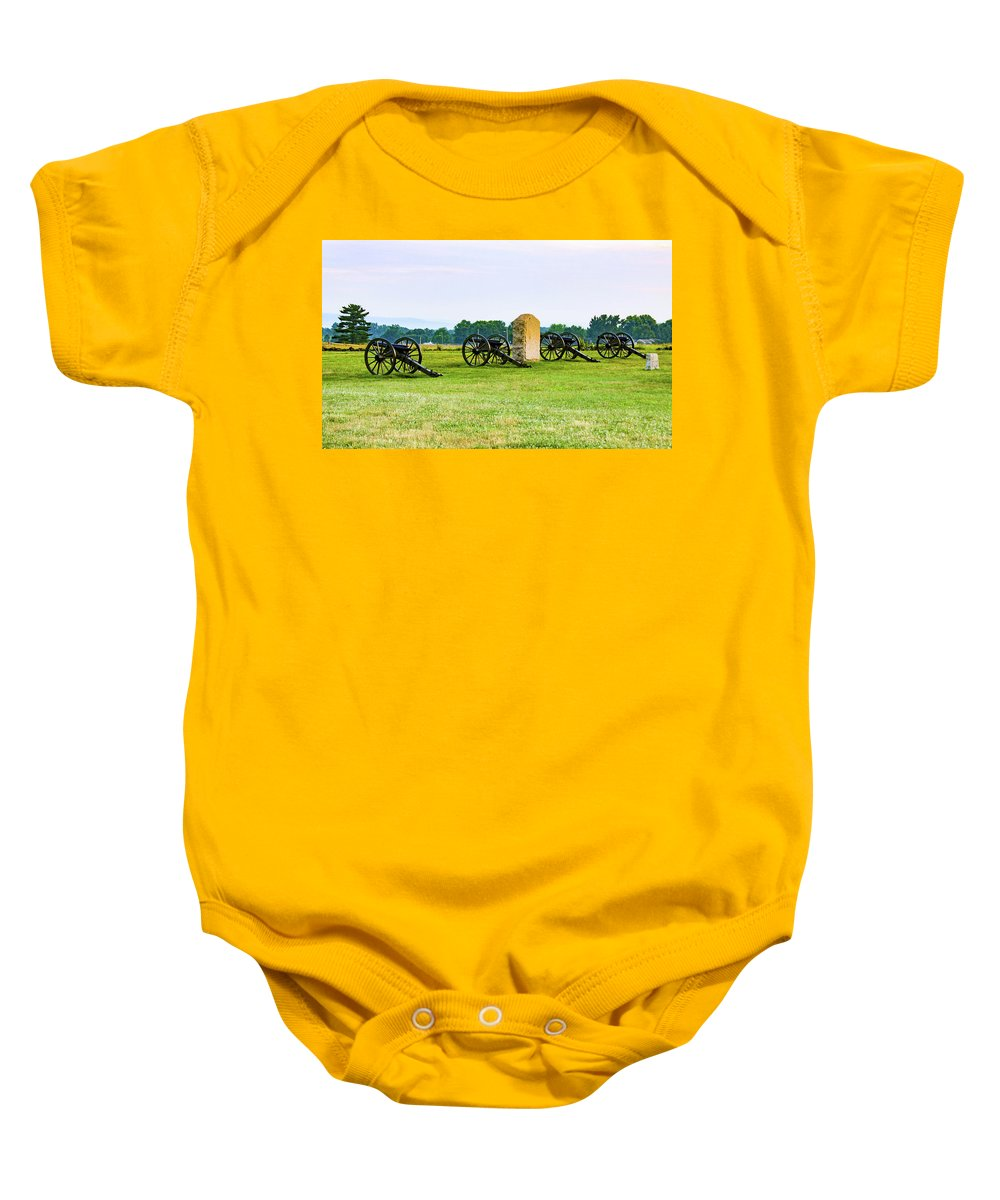 This Is A Photo From Hancock Avenue At The Angle. In The Center Is The Monument To Cushing's Battery A Baby Onesie featuring the photograph 4th United States Artillery by William Rogers