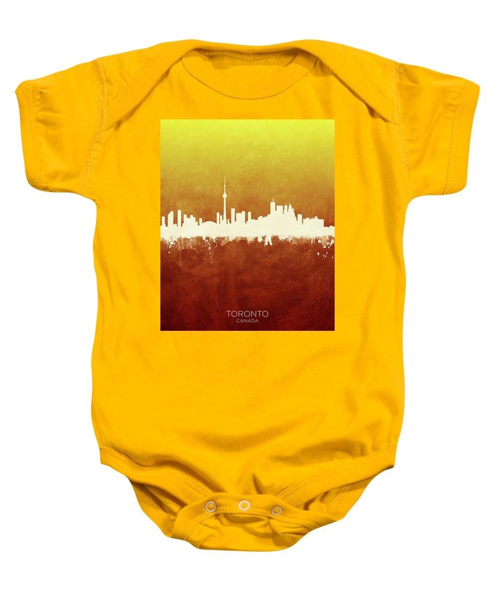 Toronto Baby Onesie featuring the digital art Toronto Canada Skyline 21 by Michael Tompsett
