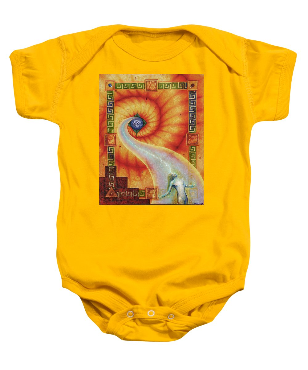 Native American Baby Onesie featuring the painting Amaizeing Grace by Kevin Chasing Wolf Hutchins