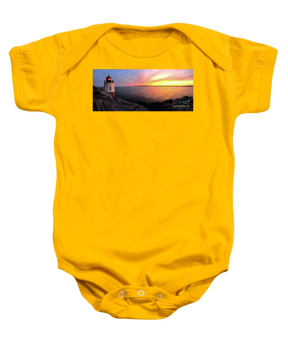Lighthouse Baby Onesie featuring the photograph Castle Hill At Sunset by Melissa OGara