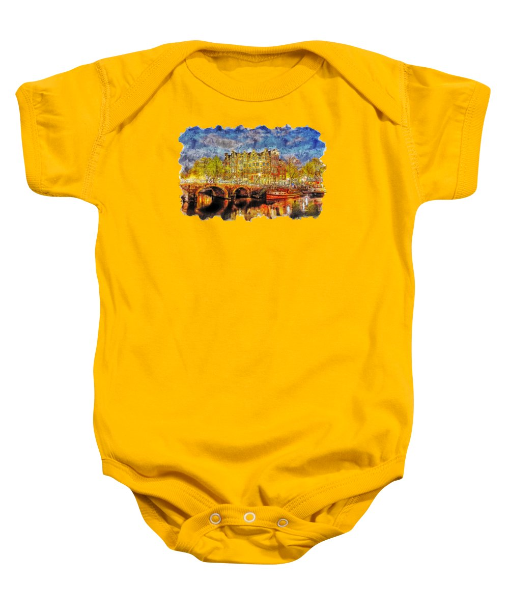 Art Baby Onesie featuring the drawing Cityscape Watercolor Drawing - Amsterdam by Hasan Ahmed