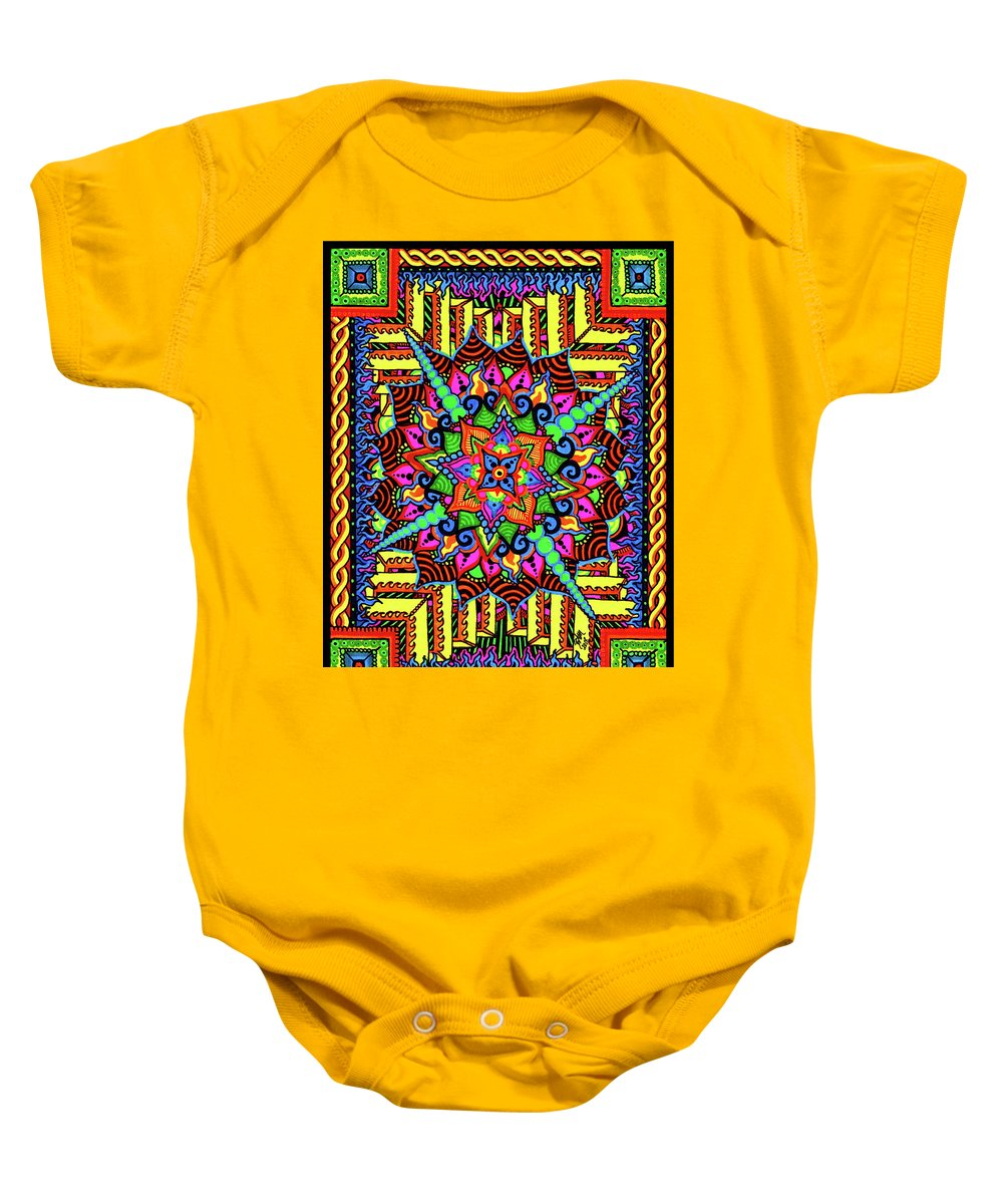 Mandala Baby Onesie featuring the drawing Colin's Mandala by Baruska A Michalcikova