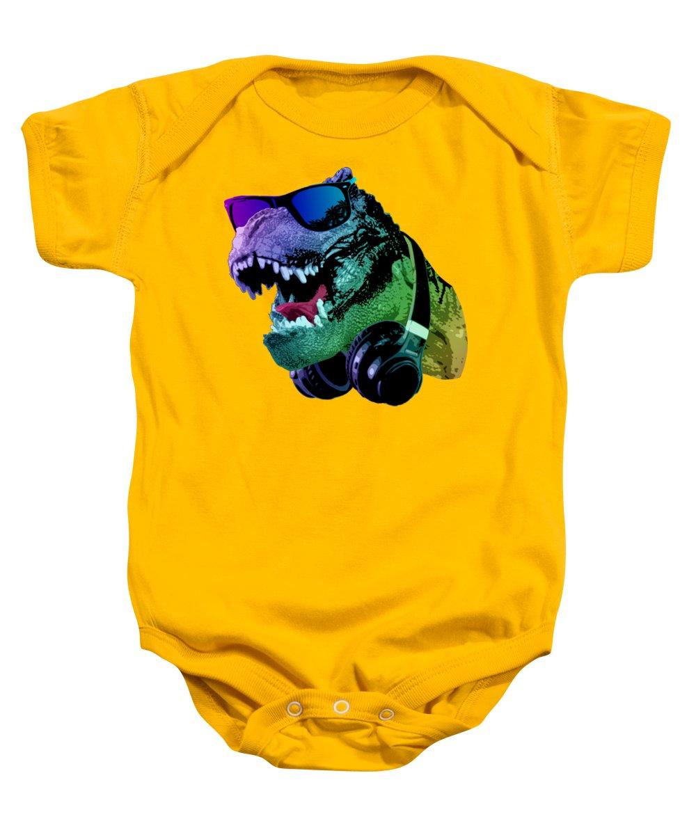 T Rex Baby Onesie featuring the digital art Cool T-Rex by Filip Schpindel