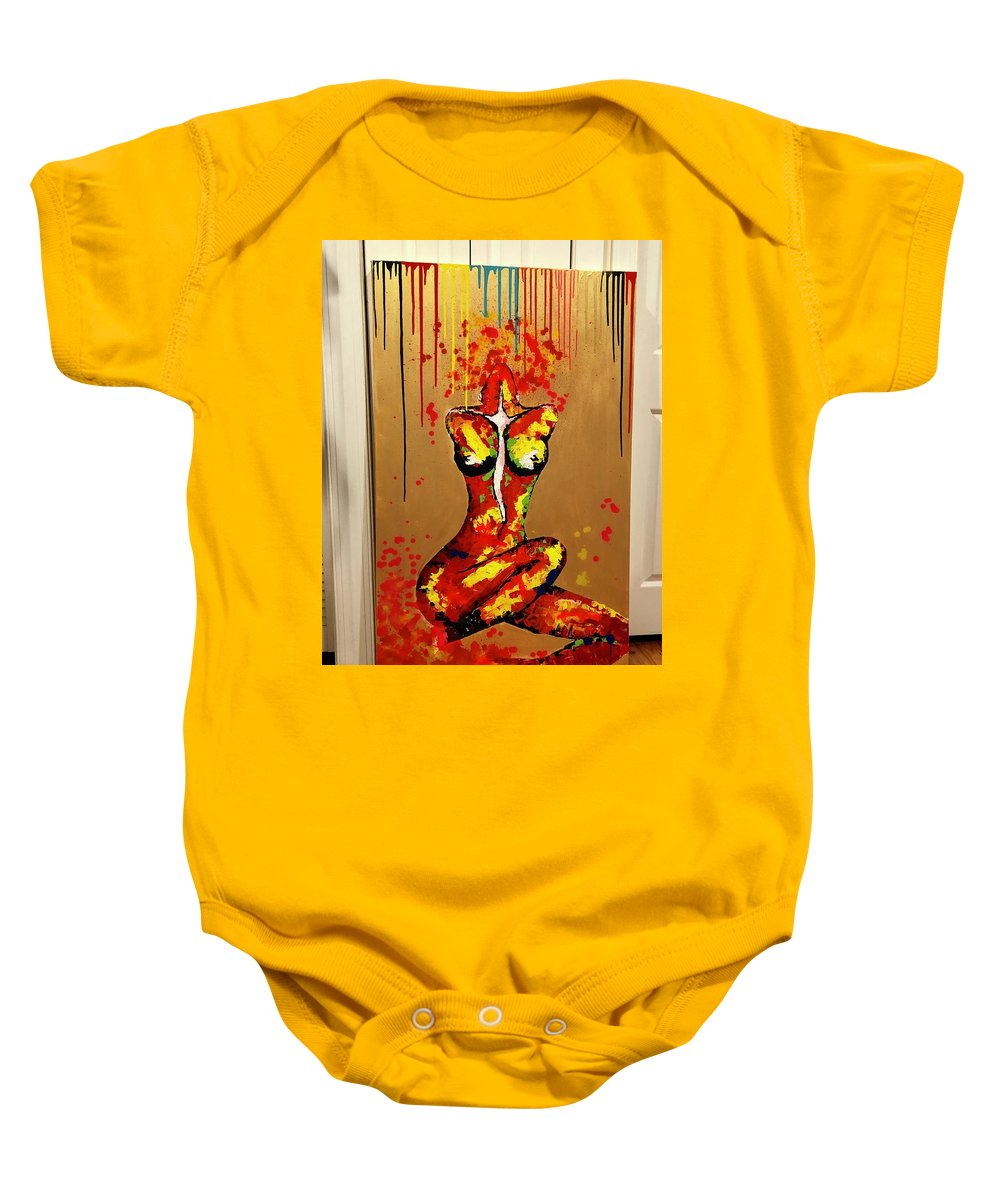 Baby Onesie featuring the painting Goddess by Khrystyna Nagirniak