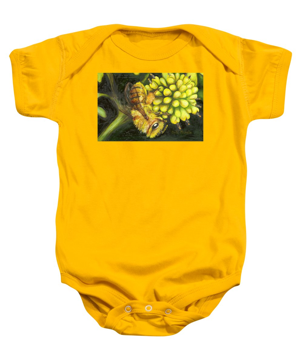Wild Baby Onesie featuring the painting Honey Bee On Wild Golden Glow by Holly Michelle Hargus