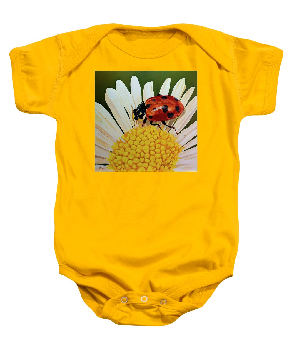 Ladybird Baby Onesie featuring the painting Ladybird by Raymond Ore