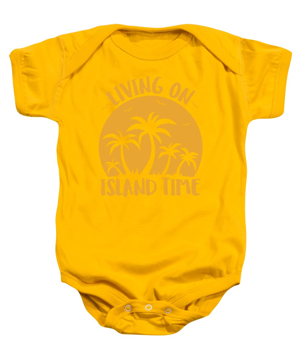 Beach Baby Onesie featuring the digital art Living On Island Time Palm Trees And Sunset by John Schwegel