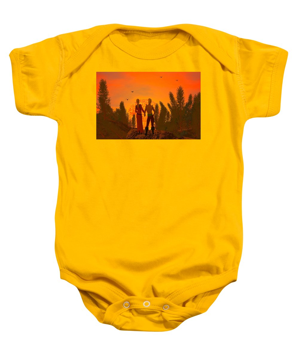 Scifi Baby Onesie featuring the digital art Love is the Same Throughout the Universe by Bob Shimer
