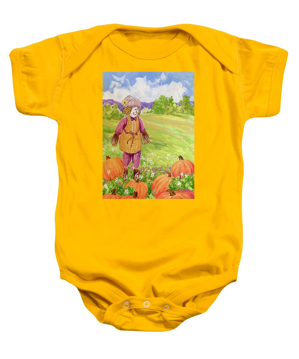Scarecrow Baby Onesie featuring the mixed media Lovey Takes A Walk by Marsha McDonald