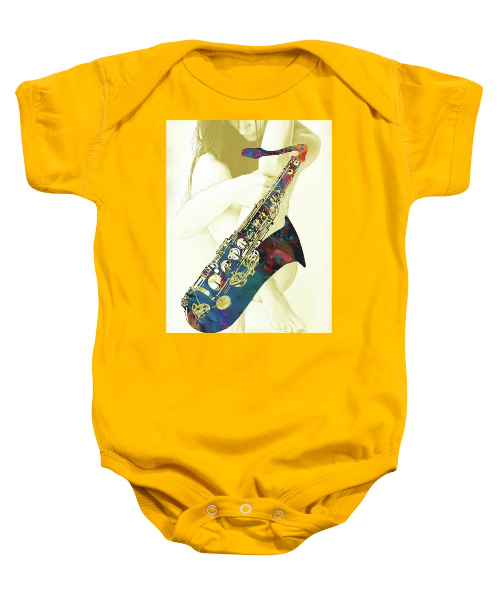 Nude Baby Onesie featuring the mixed media Music - Saxophone With Nude Pop Art Poster by Kim Wang