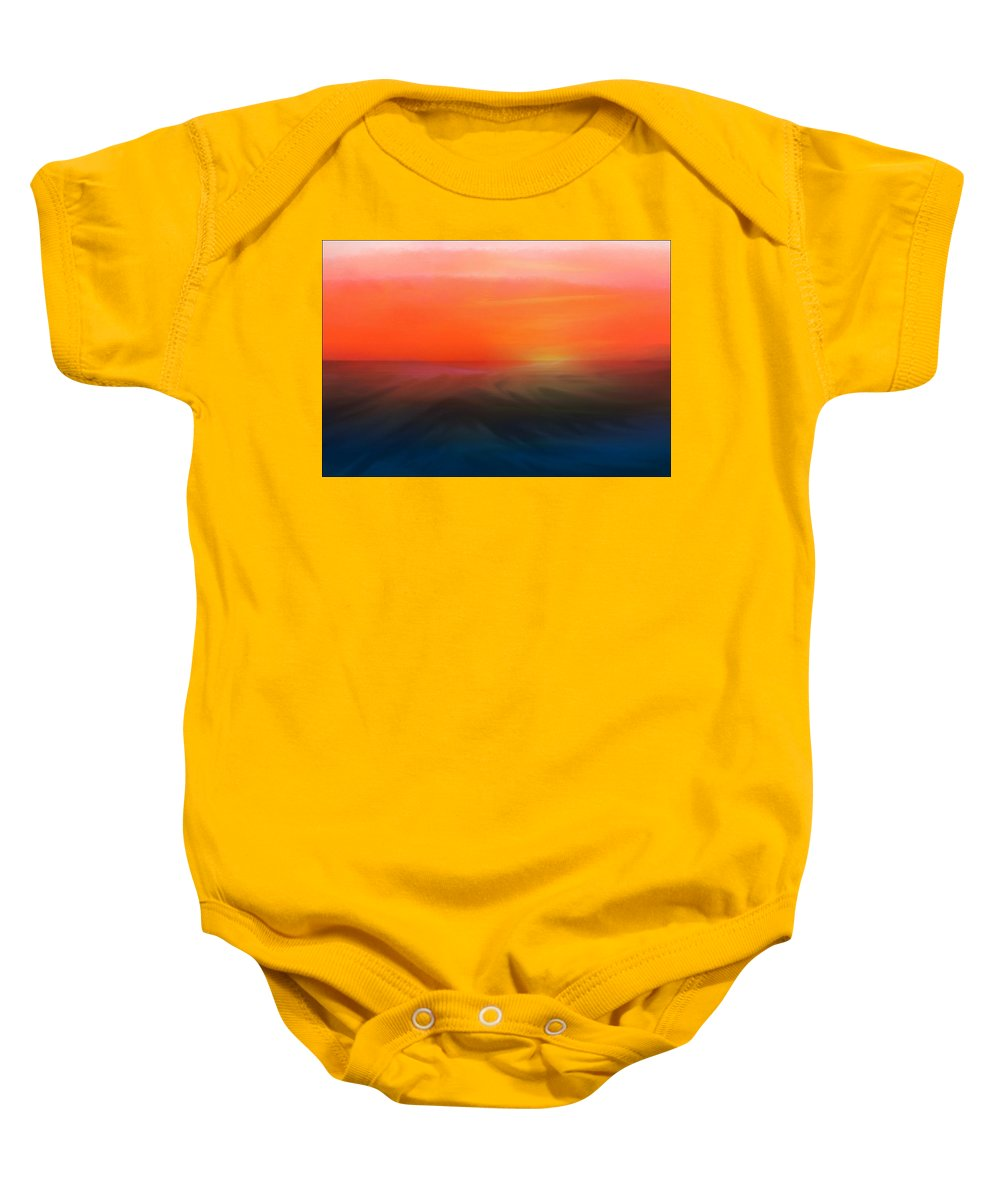 Sunset Painting Baby Onesie featuring the mixed media Ocean Sunset by Aaron Berg