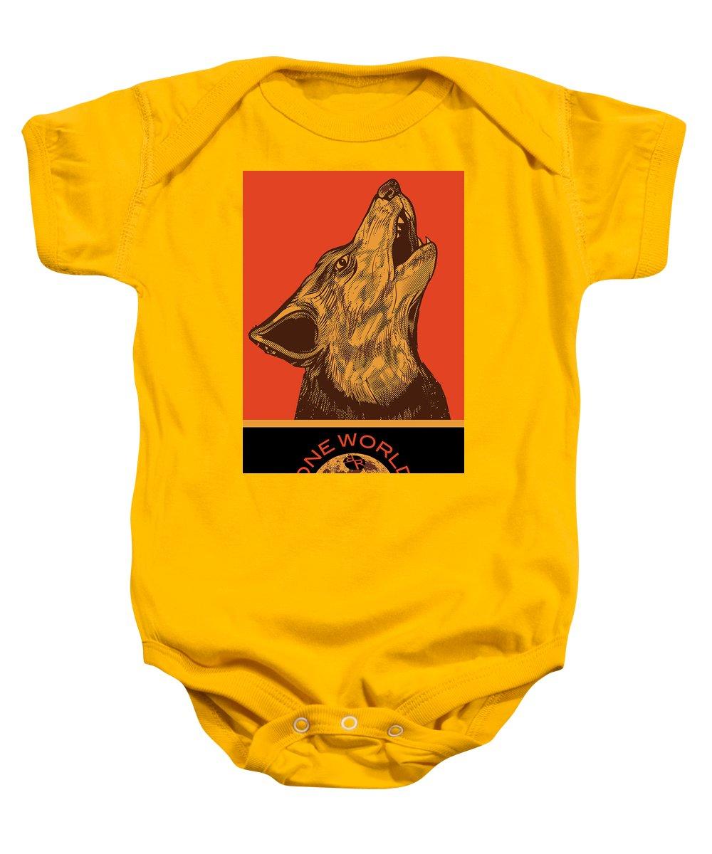 Sign Baby Onesie featuring the painting Rubino Wolf Dog Love One World by Tony Rubino
