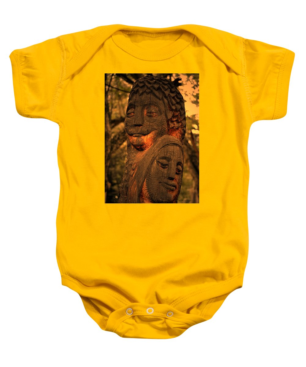 Man Baby Onesie featuring the digital art Wooden Couple by Bliss Of Art