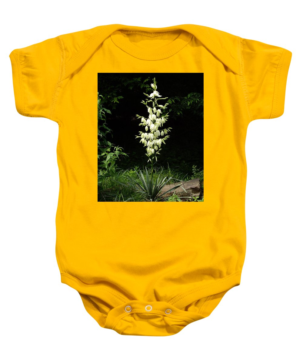 Yucca Baby Onesie featuring the photograph Yucca Blossoms by Nancy Ayanna Wyatt
