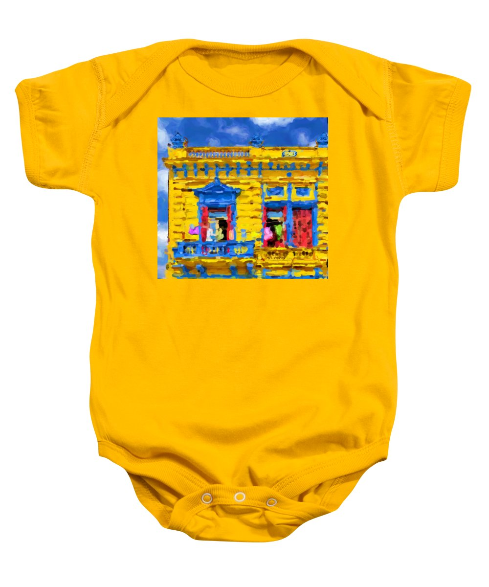 Buenos Aires Baby Onesie featuring the mixed media Buenos Aires by Asbjorn Lonvig