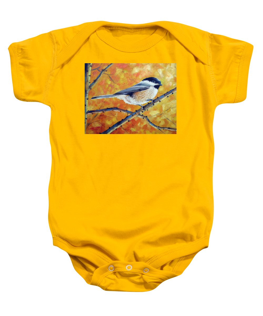 Chickadee Baby Onesie featuring the painting Black-Capped Chickadee by David G Paul
