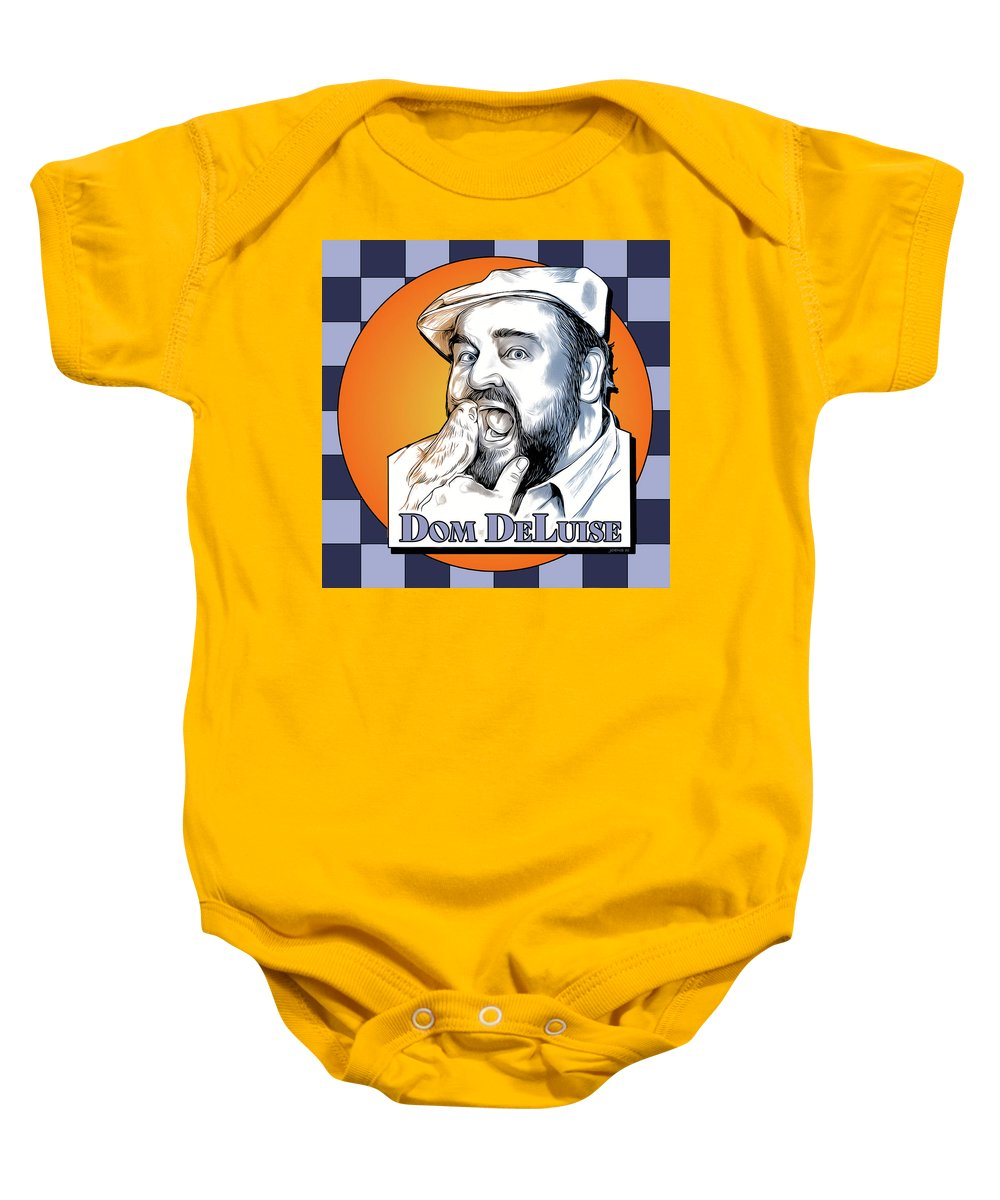 Dom Deluise Baby Onesie featuring the digital art Dom and the Bird by Greg Joens