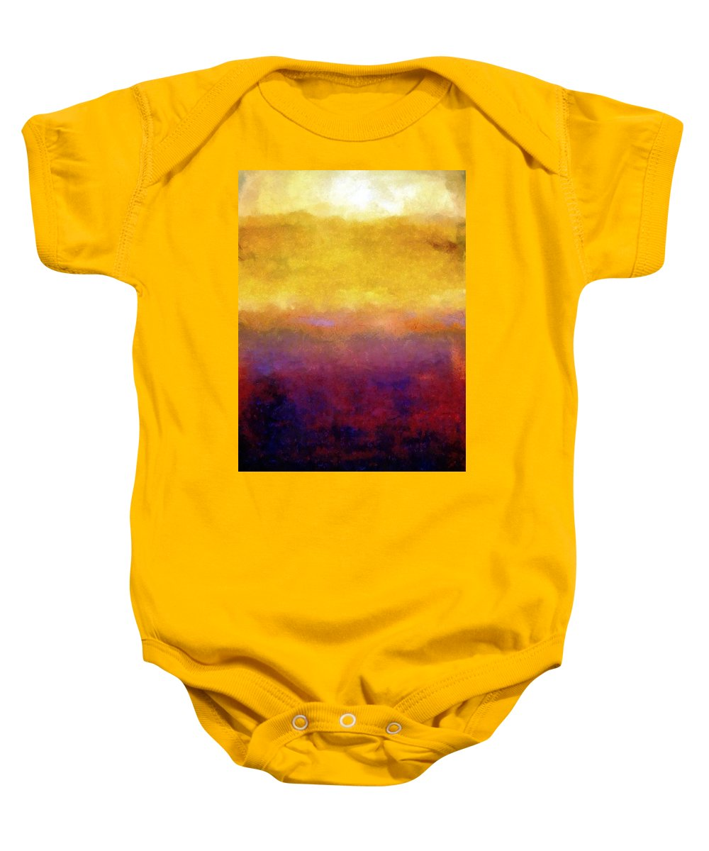 Abstract Baby Onesie featuring the painting Golden Sunset by Michelle Calkins