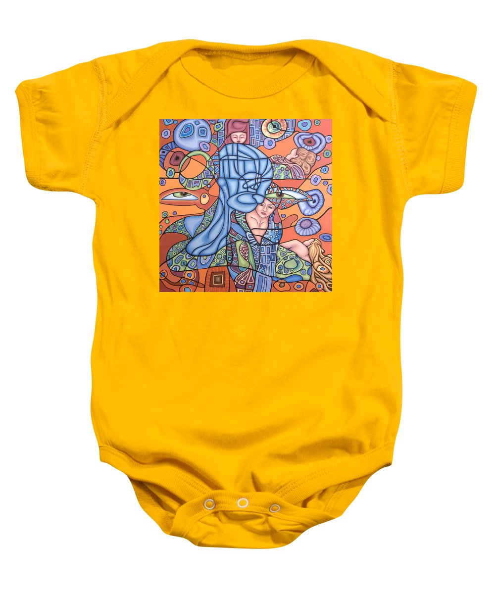 Mermaid Baby Onesie featuring the painting I See You by Judy Henninger