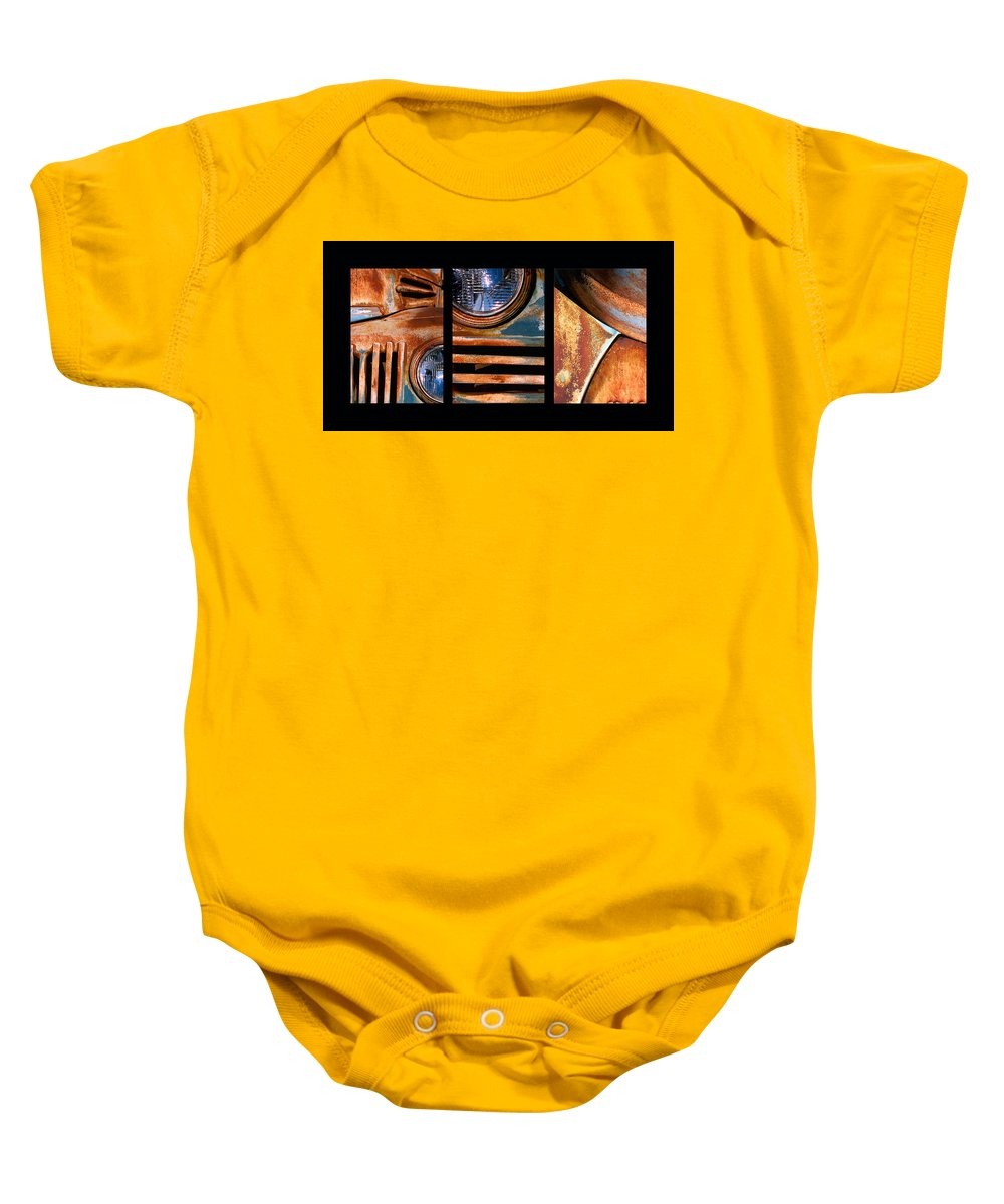 Abstract Baby Onesie featuring the photograph Red Head On by Steve Karol