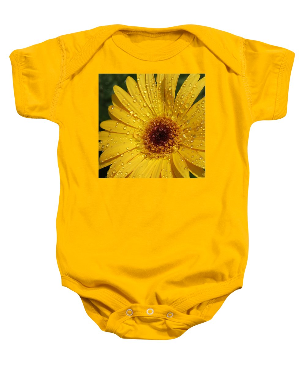 Yellow Baby Onesie featuring the photograph Yellow Gerbera by Suzanne Gaff