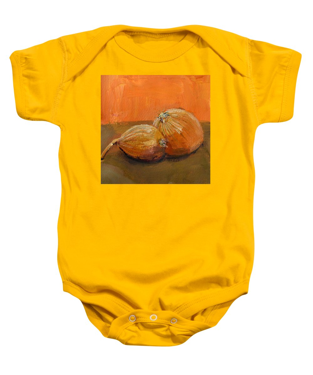 Agriculture Baby Onesie featuring the painting Yellow Onions Still Life by Michelle Calkins